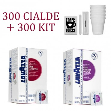 300 Lavazza Gran Espressokapseln + 300 44MM ESE-Kit Cialde carta 44mm